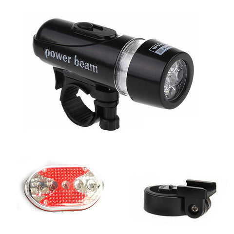 Waterproof flashlight 5 LED Lamp bike light Bicycle Front Head Light + Rear Safety Flashlight Set