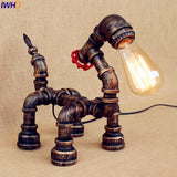 Vintage Table Lamp LED Bedroom Living Room Water Pipe Beside Lamp