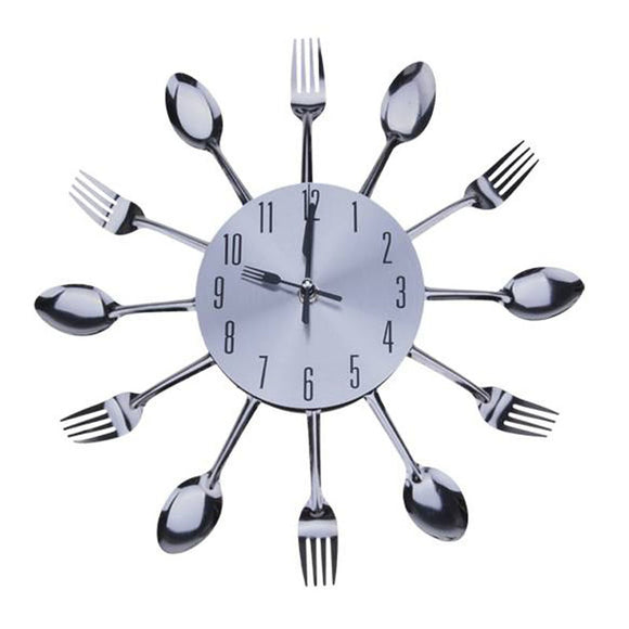 3D Spoon Fork Creative Mirror Wall Stickers Mechanism New Design Clocks Home Decor