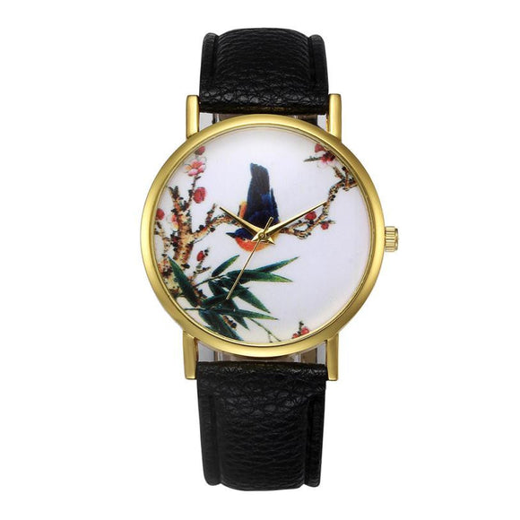 Faux Leather Analog Quartz Fashion Dress Women Watch