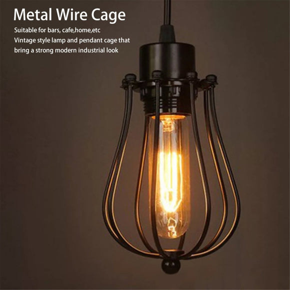 Metal Wire Shades Antique Pendant LED Bulb Cage Industrial Ceiling Hanging Guard Cafe Bars Lamp