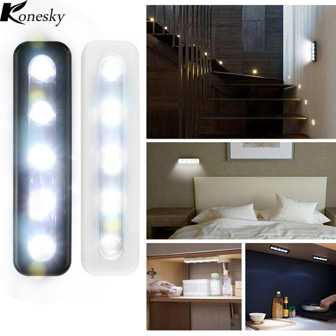 Wireless 5 LED Night Lights Closet Wall Light Battery Home Lighting