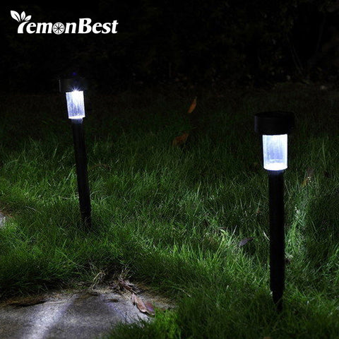 LED Solar Outdoor Lighting Stainless Steel Lawn Lamp Pathway Lamp Auto On with Spike Tube