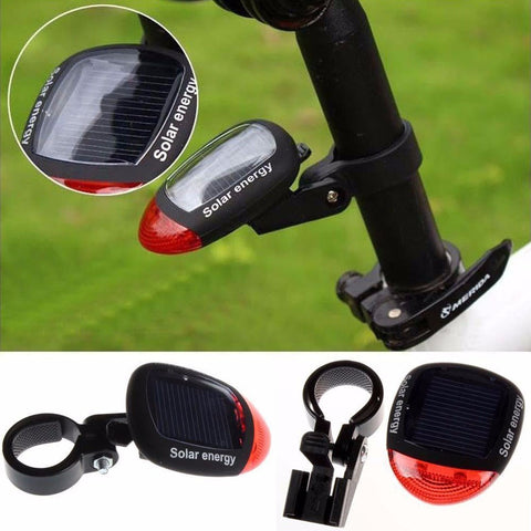 Solar Powered LED Rear Flashing Tail Light for Bicycle Lamp Safety Flashlight for bicycle
