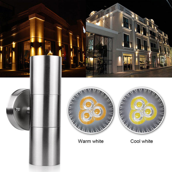 Stainless Steel Up Down LED Wall Light Fixtures Double Waterproof Wall Lamp Outdoor Lighting