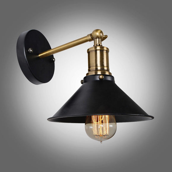 Industrial Black Metal Umbrella Vintage Loft Fixtures Retro Wall Lamp Diameter 8.4
