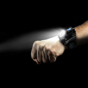 Flashlight Rechargeable Waterproof Watch 4 mode SOS Time Display with Compass