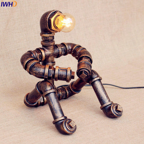 Vintage Industrial Table Lamp Bedroom Creative Water Pipe Beside Desk Lamp Little Boy Shade Decor