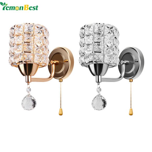Cylinder Crystal Holder with Pendant and Pull Switch AC 85-250V E14 Socket Wall Lamp