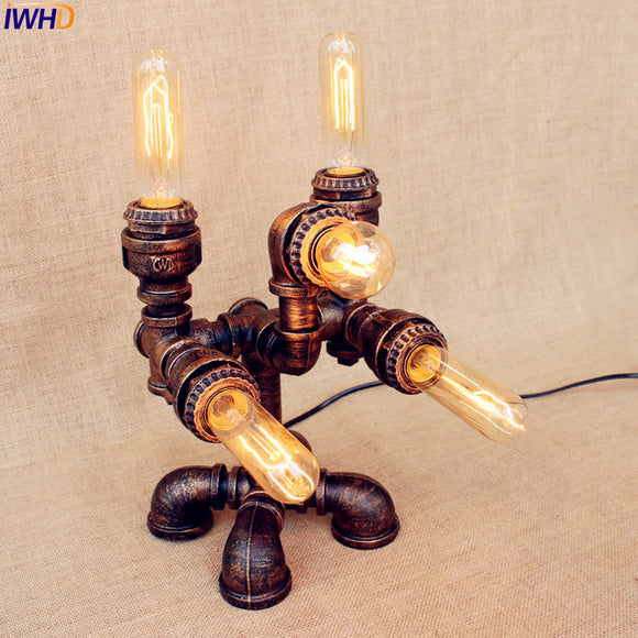 Loft Style Industrial Table Lamps For Living Room Bedroom Creative Water Pipe Bedside