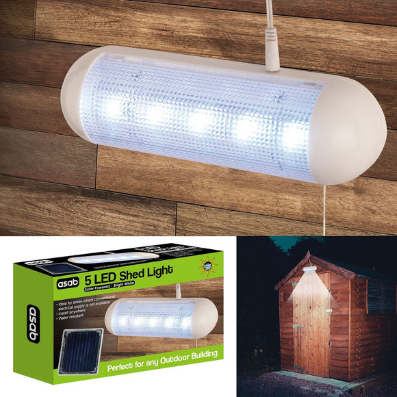 Solar Powered Shed Light Bright White 5 LED Water Resistant Rechargeable Outdoor Light