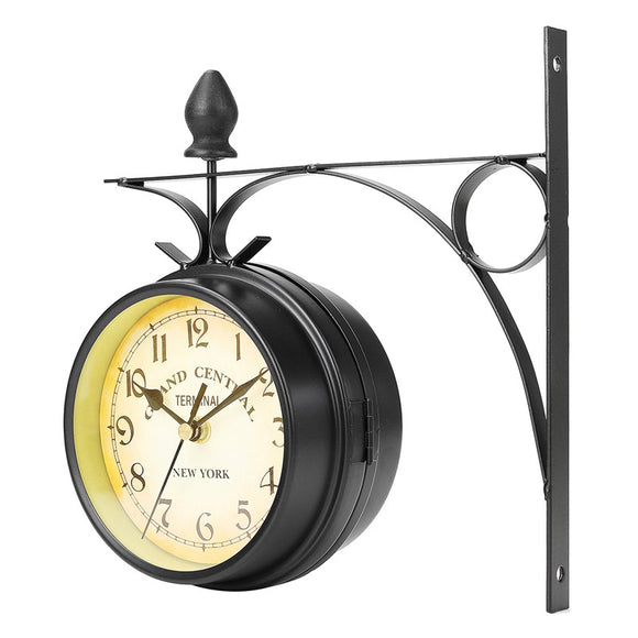 Vintage Retro Home Decor Metal Frame Glass Dial Cover Double Sided Round Wall Mount Station Clock