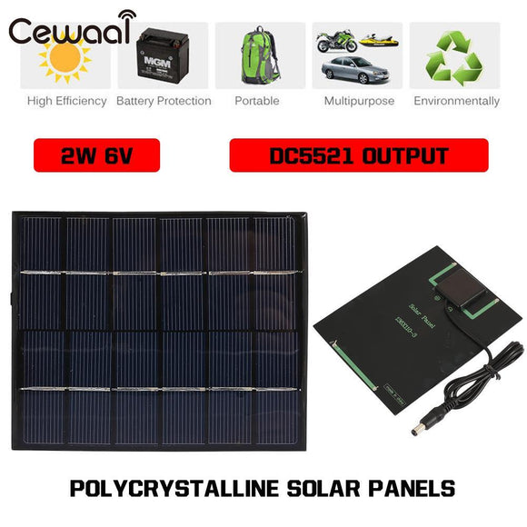 Solar Light Solar Generator 2W 6V Solar Charger Pane Portable Waterproof Solar Panel 3.7V-6V Camping