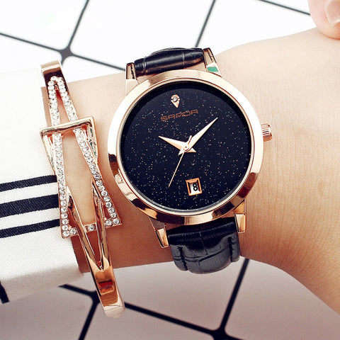 Luxury Fashion Leather Band Analog Quartz Round Wrist Watch Watches