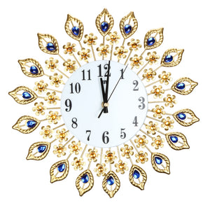 Peacock Diamond Metal Crystal Digital Needle Clocks for Living Room Large Wall Clock
