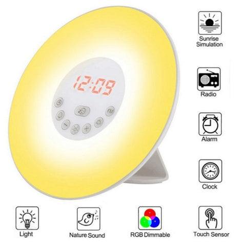 Digital Alarm Clock With FM Radio Snooze Bedside Atmosphere Lamp 7 Color Charge Sunrise
