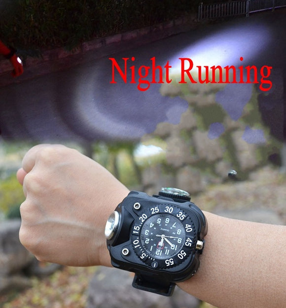 Multifunction USB Rechargeable Wrist LED Flashlight Watch Light with Compass