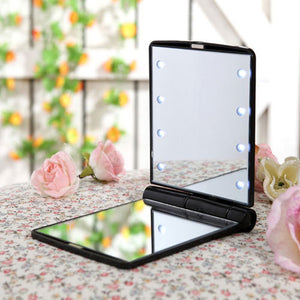 Cosmetic Folding Compact Pocket with 8 LED Lights 1PC Make Up Mirror