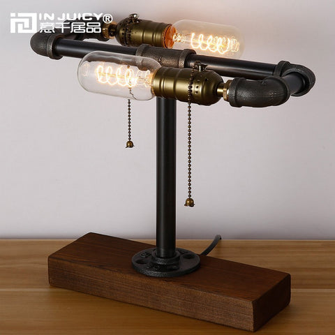 Edison Desk Wood Lamp Retro Steampunk Double Edison Bulb Desk lamp