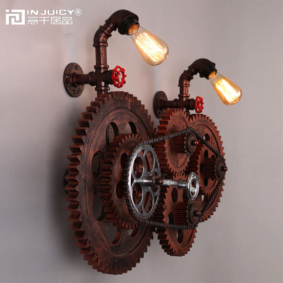 Gear Chain Wall Lights Fixture Metal Wrought Iron Edison Bulb Industrial Retro Wall Lamp