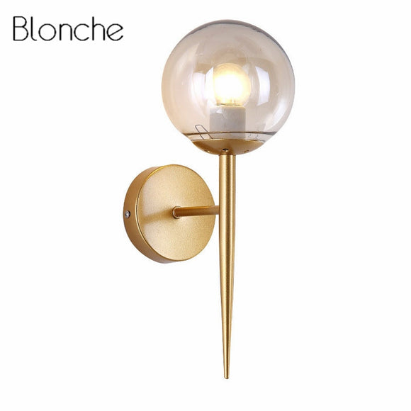 Wall Light Fixture for Home Decor Nordic Foyer Living Room Corridor Modern Glass Ball Wall Lamp