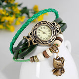 Cat Vintage Wrap Watch Genuine Leather Handcrafted Woven Cuff Style Bracelet