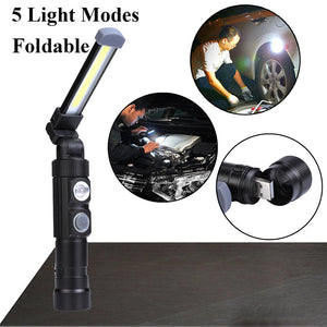 Portable COB LED Rechargeable Work Light Magnet Flashlight Torch Lamp Light