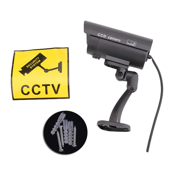 Home Surveillance Fake Security CCTV Camera Flashing Red LED Light Lamp Indoor Outdoor