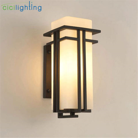 Antique Post Balcony Porch Outdoor Metal Glass Shade Exterior Wall Sconces Lighting