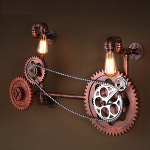 Retro Axle Gear Wall Light Fixtures For Home Vintage Industrial Lighting Wooden Water pipe Wall Lamp