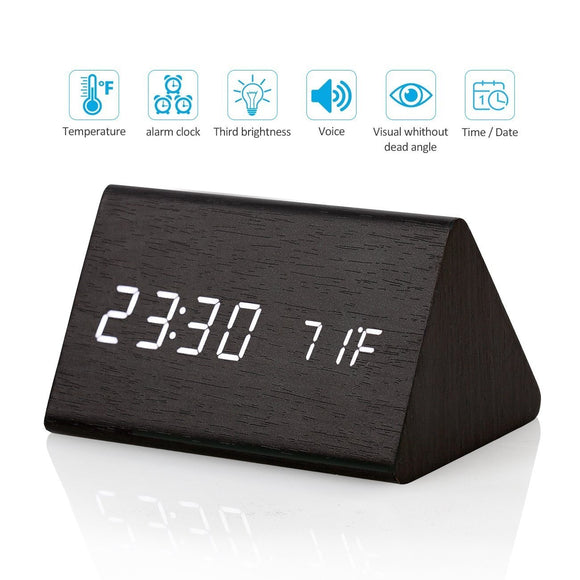 Digital Alarm Clock Wooden LED Light Clock with Time and Temperature Display, Triangle