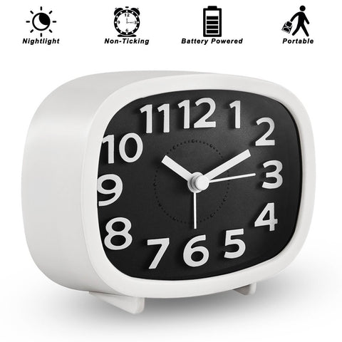 Alarm Clock, Simple Battery Operated Bedside Clock