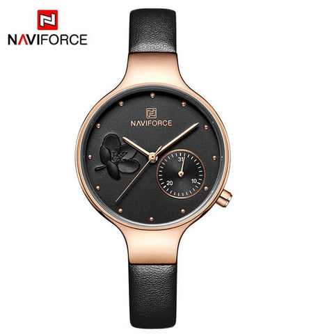 Casual Water Resistance Leather Watchband Calendar Date Women Watch