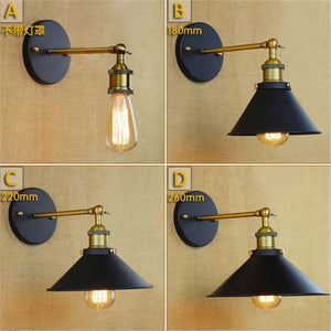 Black Unbrella Skirt Shade Metal Wall Lamps Edison Retro  Sconce Lights Vintage Wall Lamp