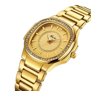 Diamond Quartz Gold Stainless Steel Women Wrist Watch