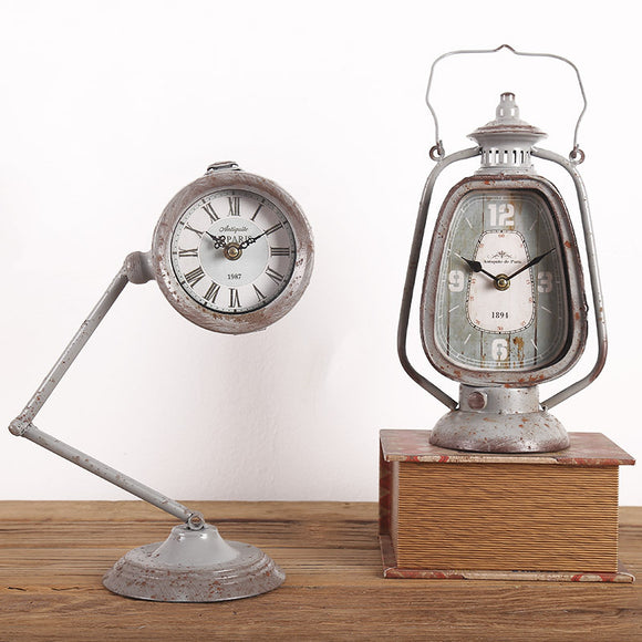 Home And Office Industrial Retro European Table Lantern Clock