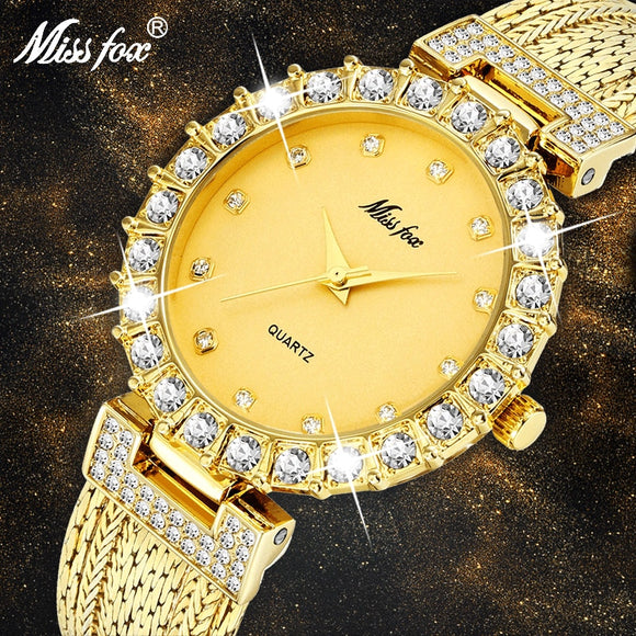 Diamond Bracelet Stainless Steel Water Resistant Women Quartz Watch
