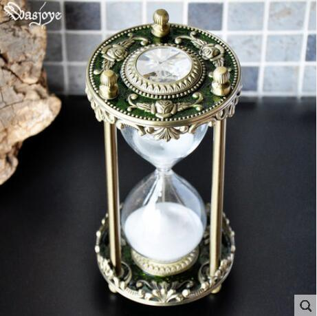 30 Min Sandglass Timer European Style Metal Desk Top Hour Glass