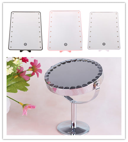 16 LED Lights 180 Degree 2 Style Touch Screen Adjustable Table Make Up Mirror