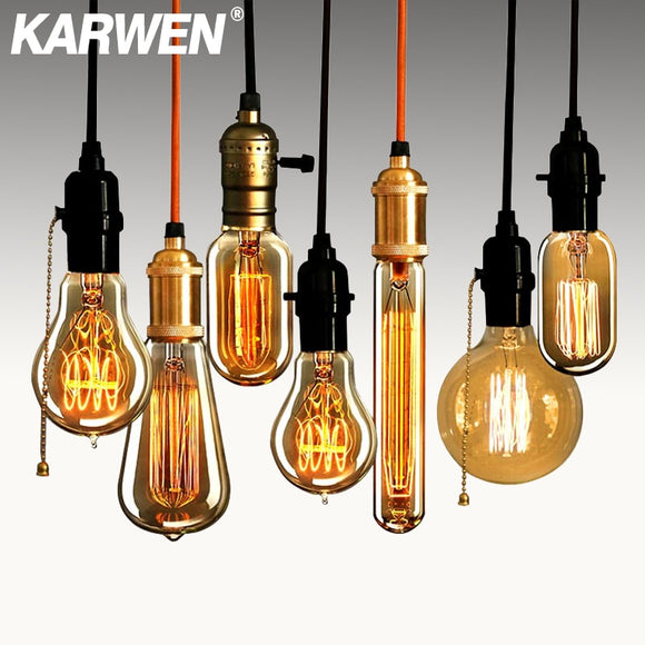 Edison bulb lampada retro incandescent 40w ampoule Antique vintage lamp E27 220V For Decor Filament Bulb Pendant Lights