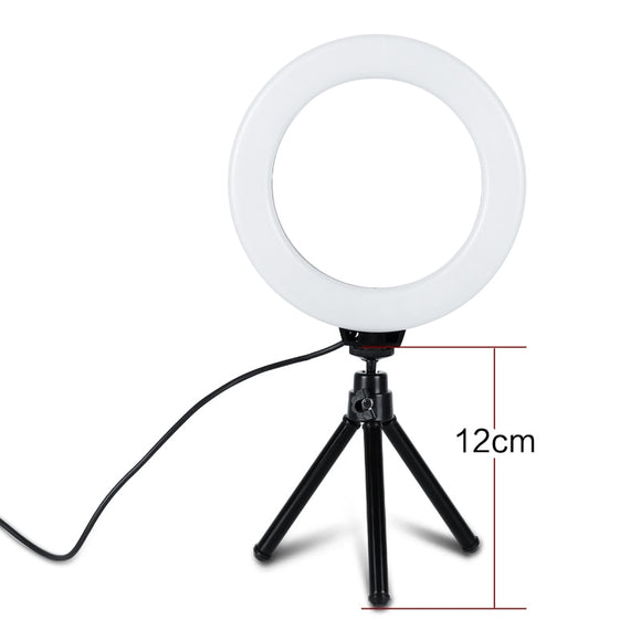 Tripods 6 Inch Dimmable Cold Warm LED Studio Camera Ring Light Lamp