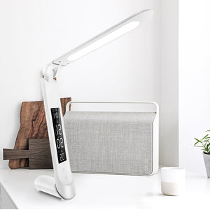 Rechargeable Foldable Dimmable Modern Office with Calendar Clock LED Desk Table Lamp