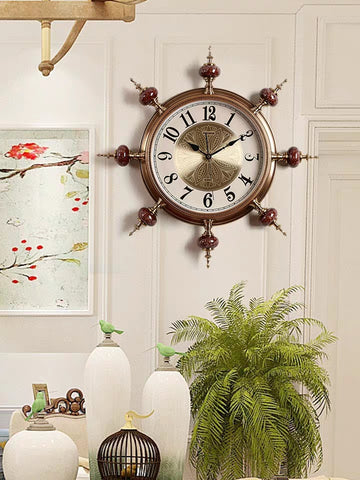 Ship Rudder Clock European Style Ultra Silent Cermet Leather Quartz Clock