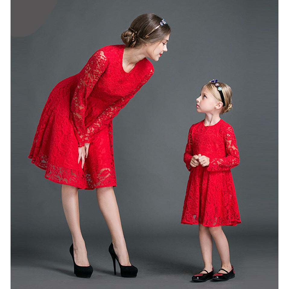 Elegant Red Lace Dress Matching Outfit Sale