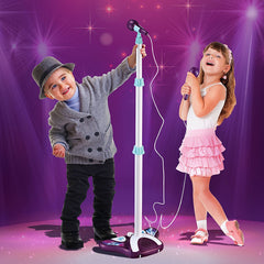 Kids Karaoke Machine with 2 Microphones & Adjustable Stand, Music Sing Along with Flashing Stage Lights and Pedals for Fun Musical Effects
