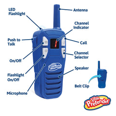 Little Pretender Walkie Talkies for Kids, 2 Mile Range, 3 Channels, Built in Flash Light