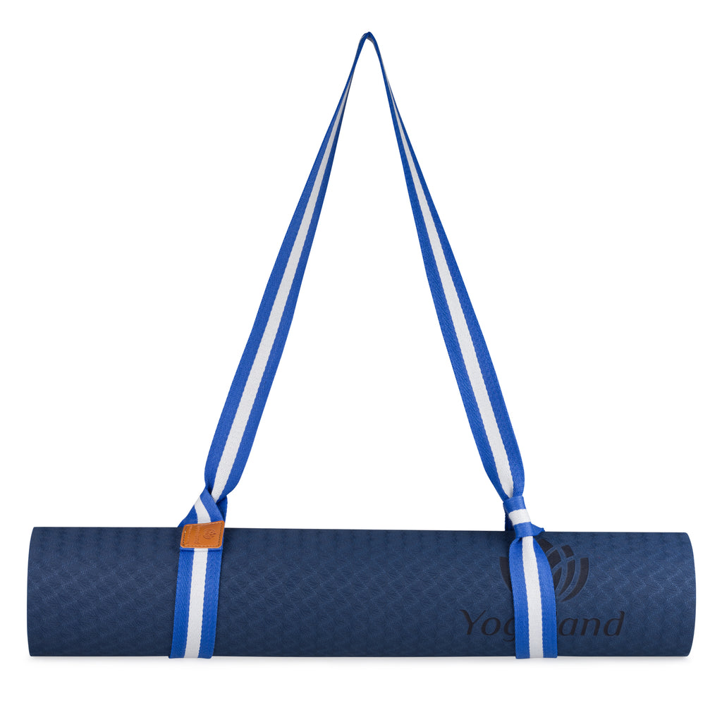 YOGALAND Premium Yoga Mat with Carrier Strap - Yoga Mat 6mm 1/4-Inch Thick, Non-Slip, Eco-Friendly Lightweight, Extra Large 72 x 24 for Yoga, Pilates, Exercise, Fitness (Blue)