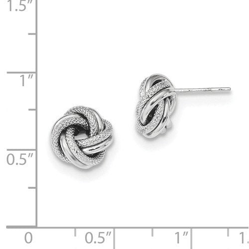 14k White Gold 10mm Classic Love Knot Stud Post Earrings