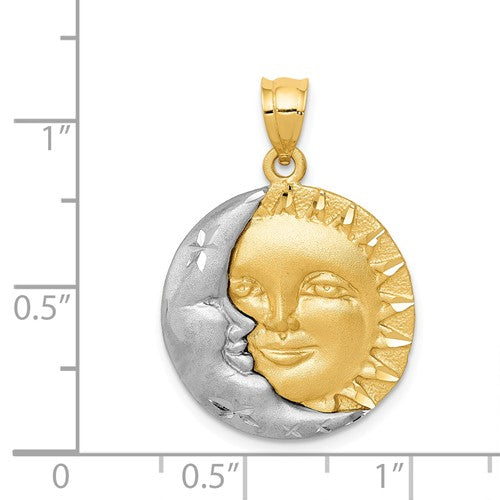 14k Gold Two Tone Sun and Moon Pendant Charm