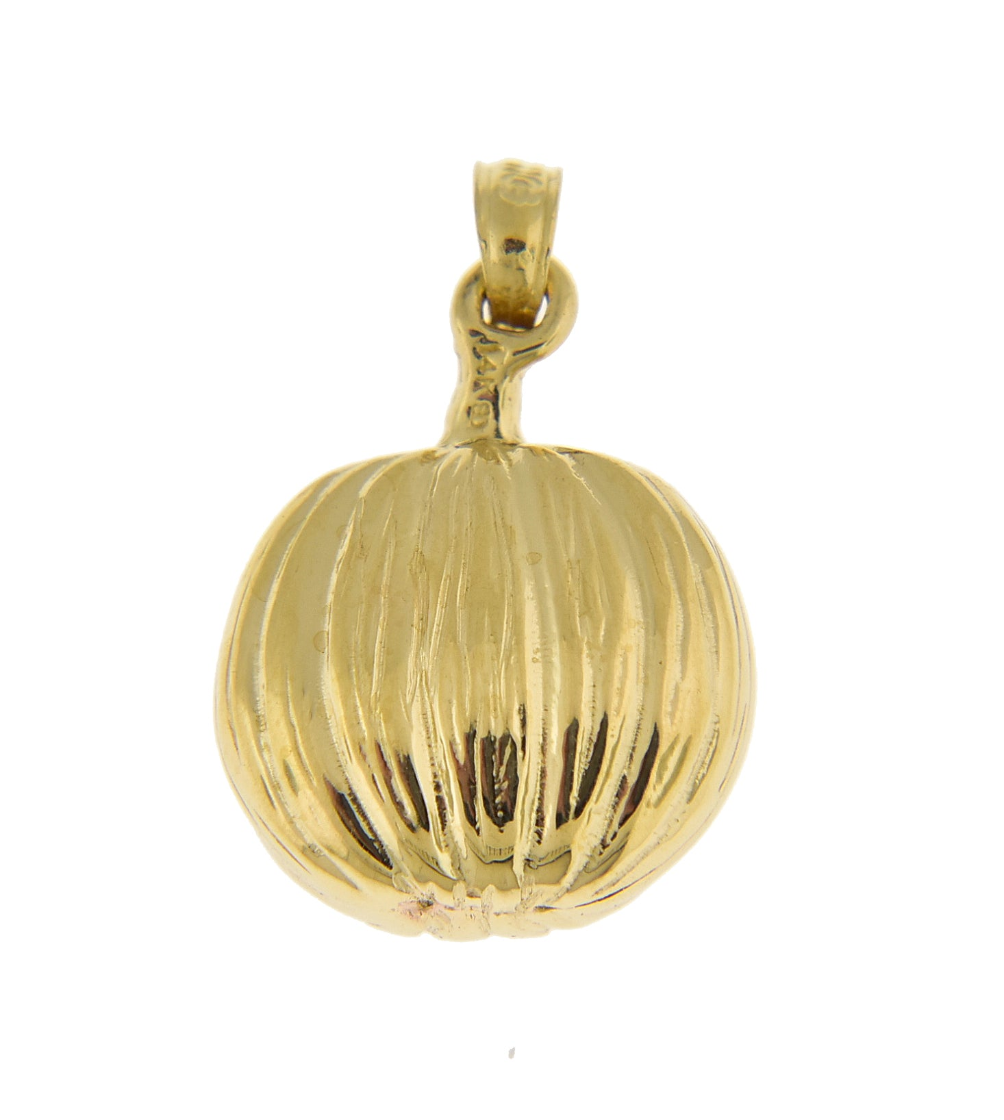 14k Yellow Gold Pumpkin Halloween Jack O Lantern Cat Pendant Charm